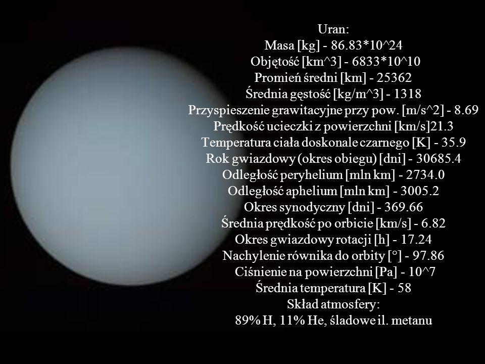 Uran: Masa [kg] - 86. 83. 10^24 Objętość [km^3] - 6833